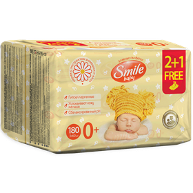 Smile Baby Wet Wipes for Newborns with Chamomile and Aloe Extracts. Multipack 2+1 180pcs.