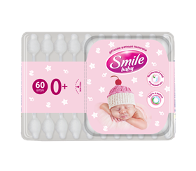 Smile Baby Cotton-Wool Sticks for Children with a Limiter 60pcs.